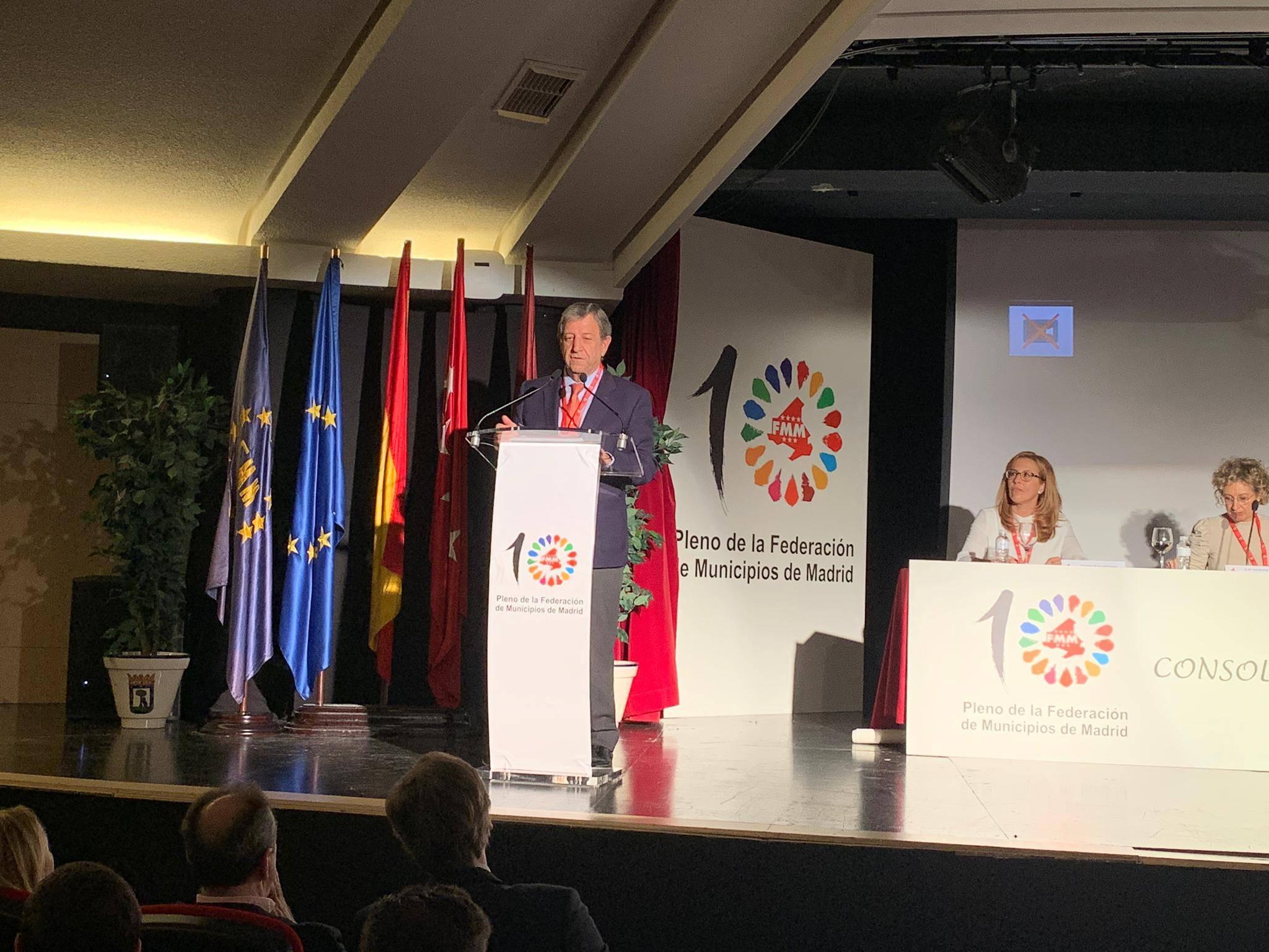 El alcalde, Luis Partida, durante su intervención en el X Pleno de la FMM.
