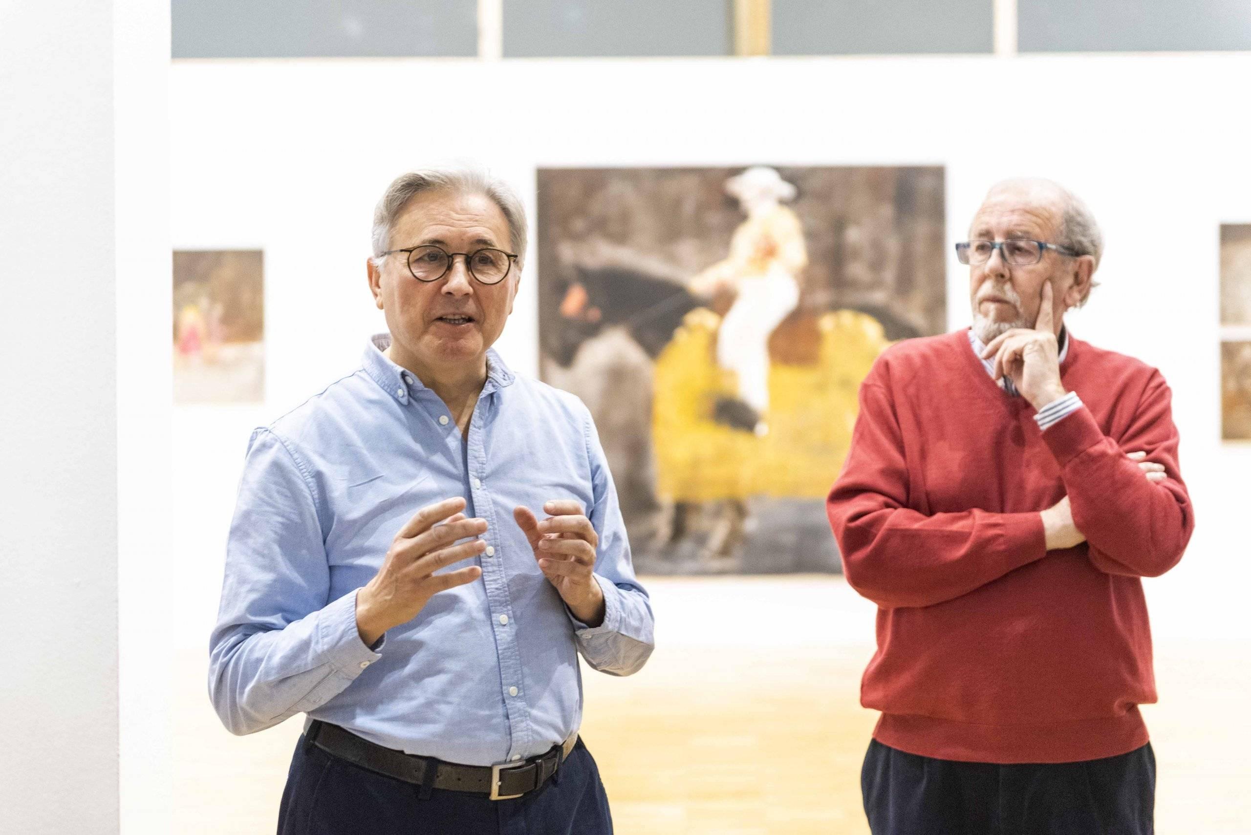 Los pintores Javier Montesol y Vicente González Rodríguez.