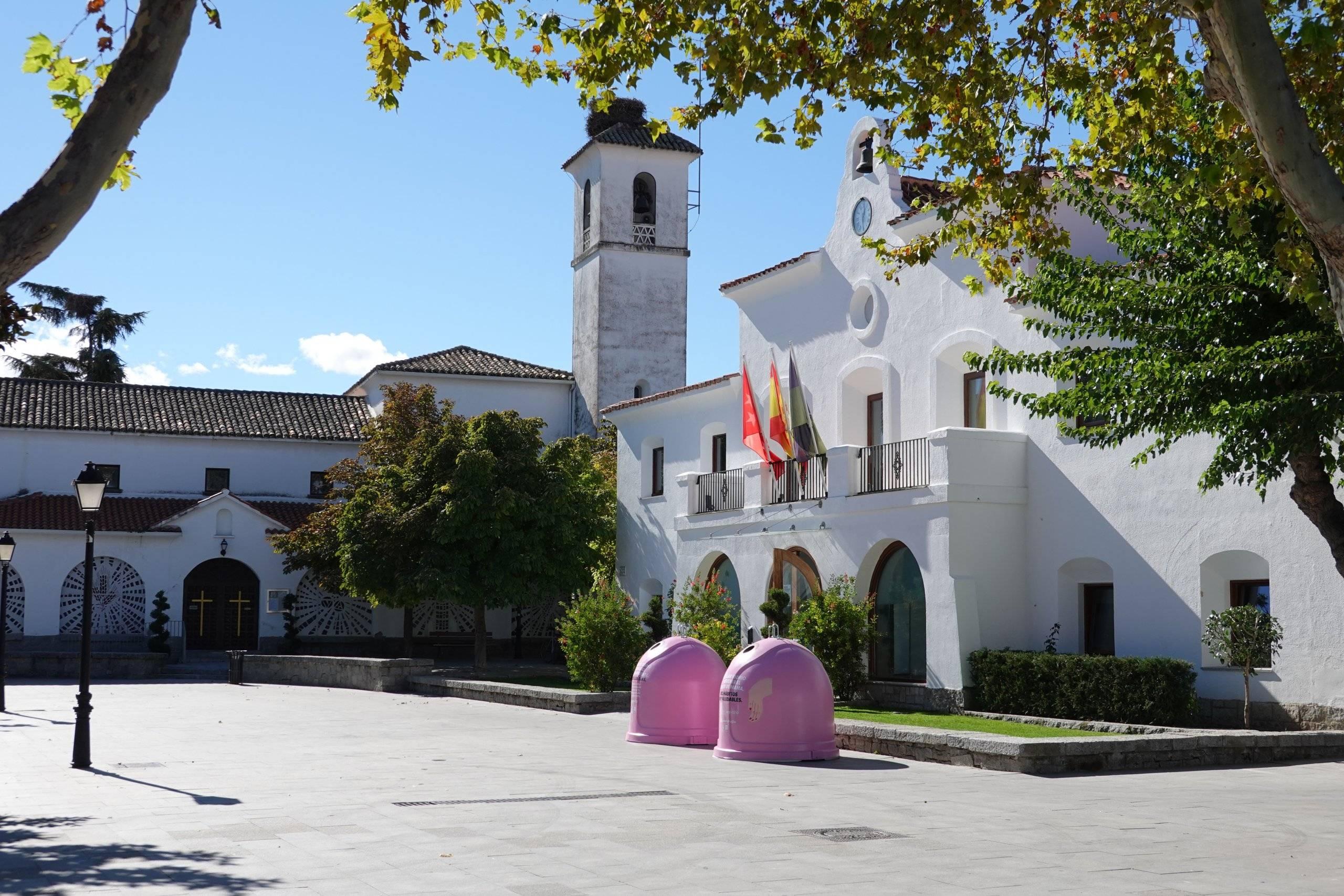 La plaza de España con los contenedores.