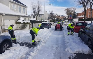 Operarios municipales retirando nieve de las calles.