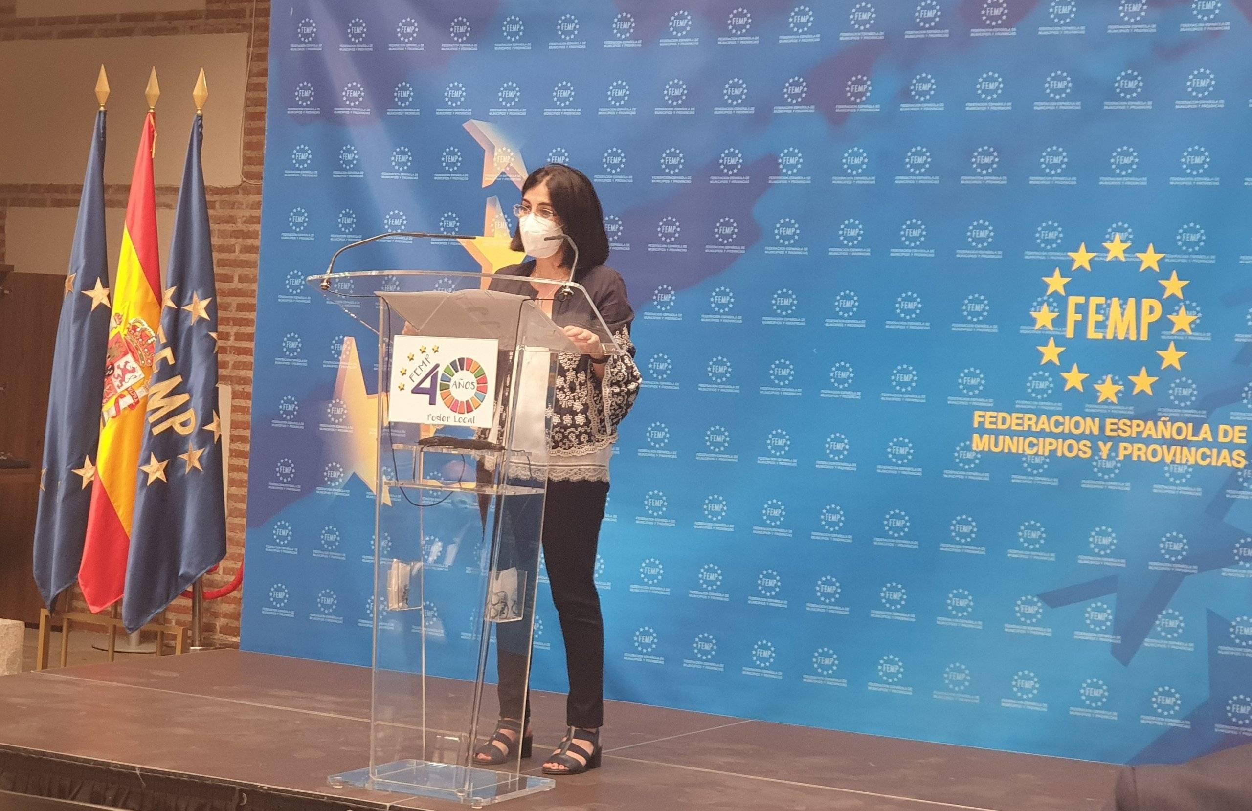 La ministra, Carolina Darias, durante su intervención.